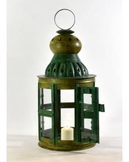 Kovová lucerna, zelená patina, 27x27x63cm