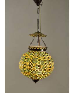 Skleněná mozaiková lampa, multibarevná, ruční práce, průměr 30cm, výška 30cm