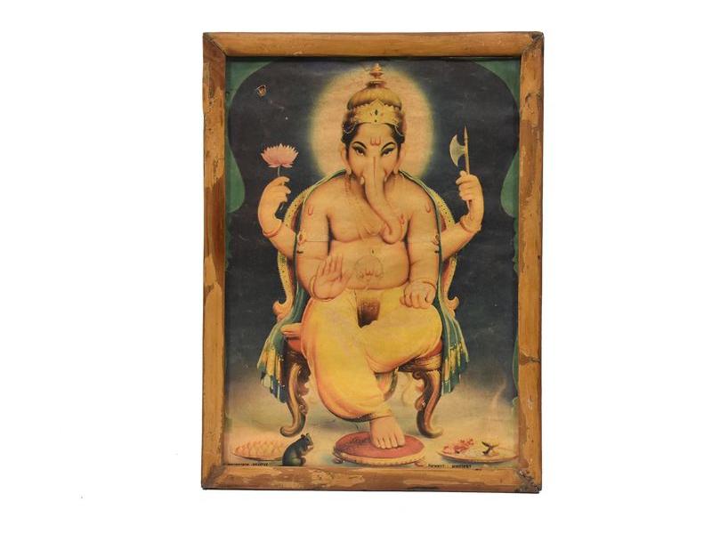 Antik obraz v dřevěném rámu, Ganeš, 38x29cm