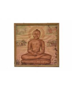 Antik obraz v dřevěném rámu, Buddha, 37x37cm