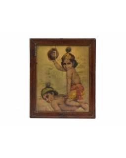 Antik obraz v dřevěném rámu, Krishna, 24x30cm
