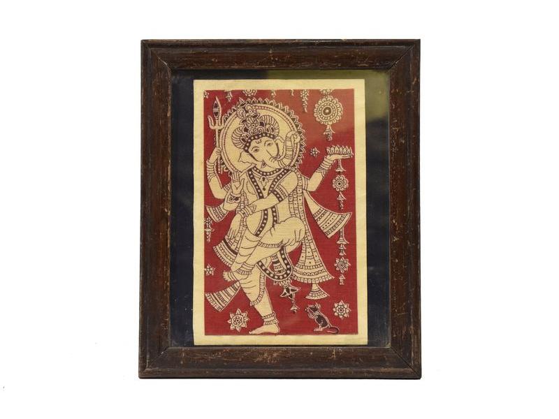 Antik obraz v dřevěném rámu, Ganeš, 25x30cm
