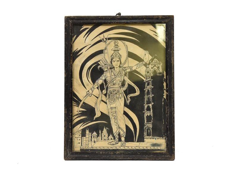 Antik obraz v dřevěném rámu, Šiva, 27x36cm