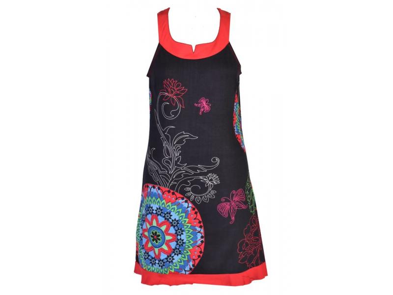 """Černé šaty bez rukávu """"Pamella"""" s barevnými mandalami"""