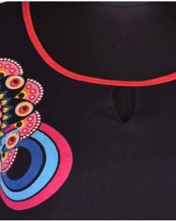 """Černé šaty bez rukávu """"Camilla"""" s barevnými mandalami"""