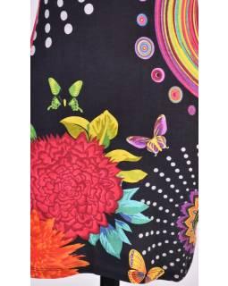 "Černé šaty bez rukávu ""Timea"" s barevnými mandalami"