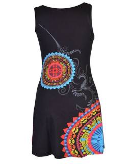"Černé šaty bez rukávu ""Maila"" s barevnými mandalami"