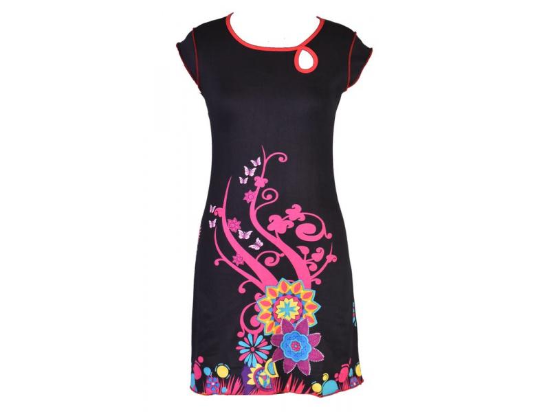 """Černé šaty s krátkým rukávem """"Johana"""" s barevným potiskem"""