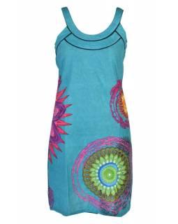"""Krátké tyrkysové šaty na ramínka """"Paolina"""" s barevným potiskem"""