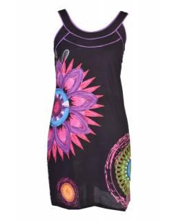 """Krátké černé šaty na ramínka """"Paolina"""" s barevným potiskem"""