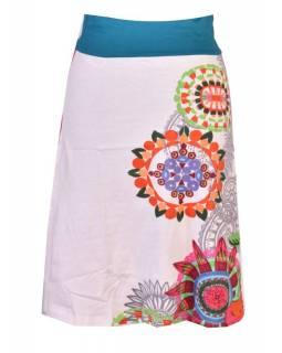 """Bílá sukně ke kolenům """"New Jamy"""" s barevným potiskem, pružný pas"""