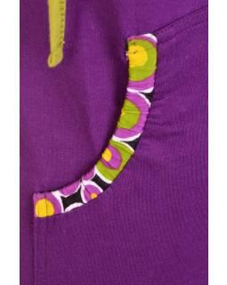 Fialové tričko s krátkým rukávem a kapucí, potisk bublinek a zipy