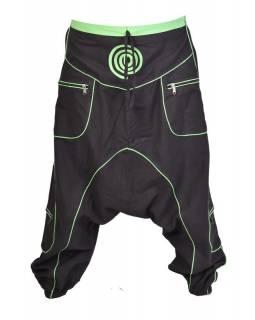 Černo-zelené turecké kalhoty se spirálou, kapsy, elastický pas