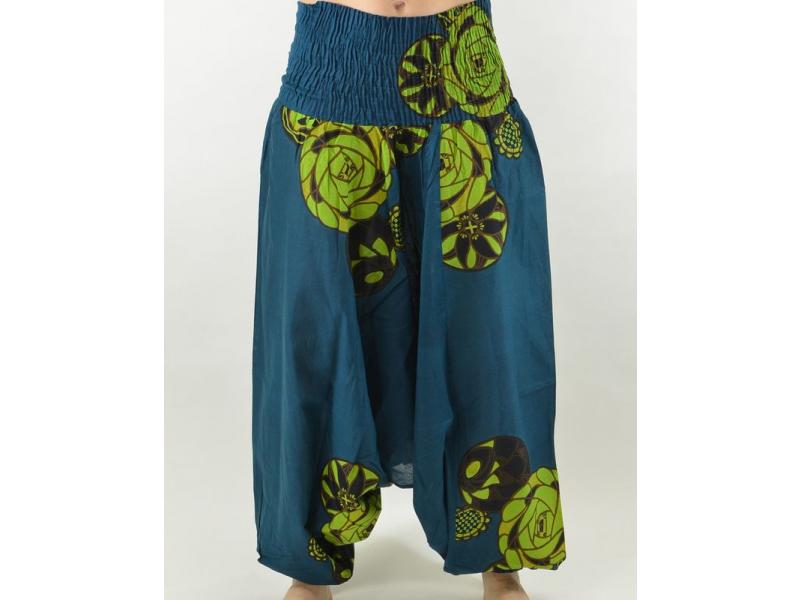 Turecké kalhoty-overal-halena, petrol, 3 v 1, tisk