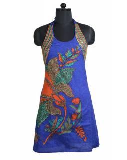 """Krátké modré šaty bez rukávu """"Lotus design"""", korálková výšivka"""