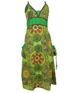 Dlouhé zelené šaty na ramínka s kapsami, mandalový potisk
