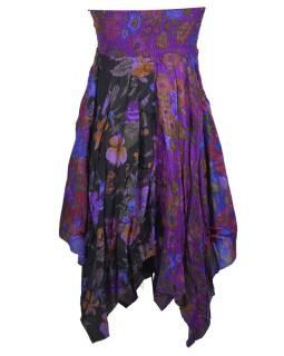 Krátké fialové šaty s cípy bez ramínek, květinový potisk, stuha