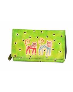 """Peněženka, design """"Two cats"""", zelená, malovaná kůže, 17x11cm"""