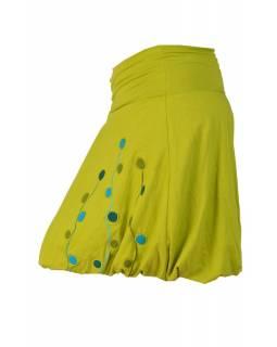 Sukně, balonová, krátká, zelená, kruhový design s výšivkou, elastický pas