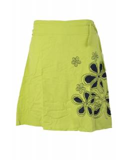 """Krátká zelená sukně """"Chain Flower"""", černé kytky, pružný pas"""