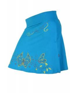 """Krátká tyrkysová sukně """"Buttefly"""", potisk a výšivka, elastický pas"""
