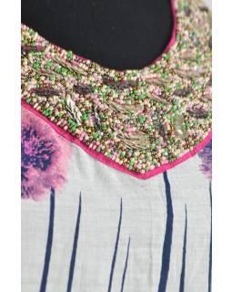 """Růžovo bílá halenka """"Comb design"""" s tříčtvrtečním rukávem a korálky"""