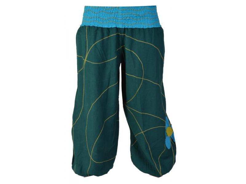 Petrolejové balonové kalhoty s tyrkysovo zelenou květinovou aplikací,žabičkování