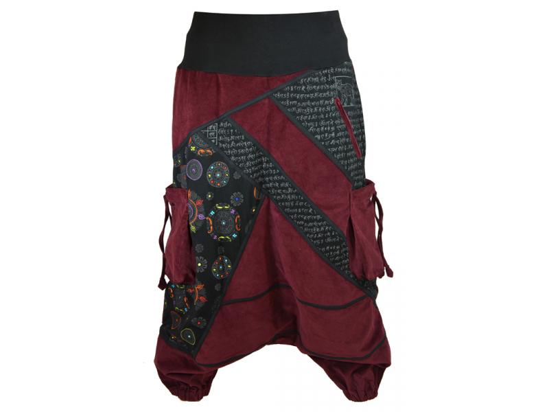 Dlouhé manžestrové turecké kalhoty, vínovo-černé, Chakra tisk a výšivka, kapsy