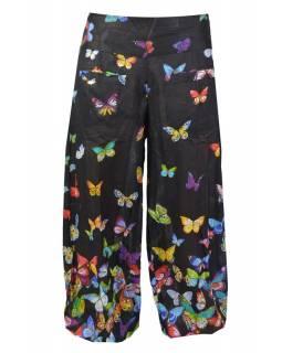 """Letní černé balonové kalhoty """"Italian Butterfly design"""" s kapsami, elastický pas"""