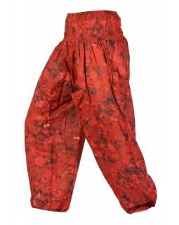 Červené balonové kalhoty s kapsami, květinový potisk, žabičkování