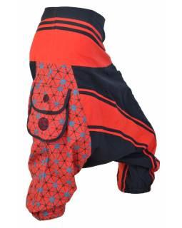 """Turecké kalhoty, tříčtvrteční, červeno-černé, potisk """"Net design"""", kapsy, zip"""