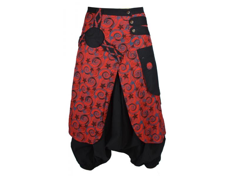 Černo červené turecké kalhoty se sukní, Flower Spiral tisk, zip