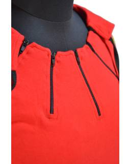 Lehká červeno-černá mikina s kapucí, tisk bublinek a ozdobné zipy, kapsa