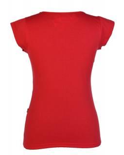 "Červené tričko ""Meadow"" s krátkým rukávem, černý tisk a výšivka"