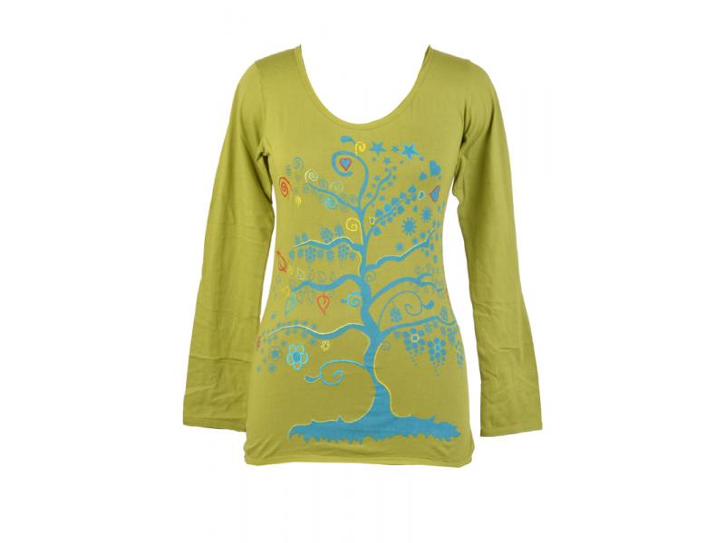 """Zelené tričko s dlouhým rukávem a modrým potiskem """"Tree"""" design"""