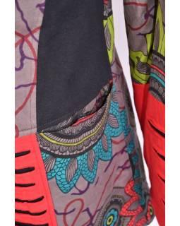"""Hnědo-červený kabát s kapucí zapínaný na zip, """"Flower Mandala"""", prostřihy, kapsy"""