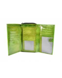 """Peněženka, design """"geometric"""", zelená, malovaná kůže, 17x11cm"""