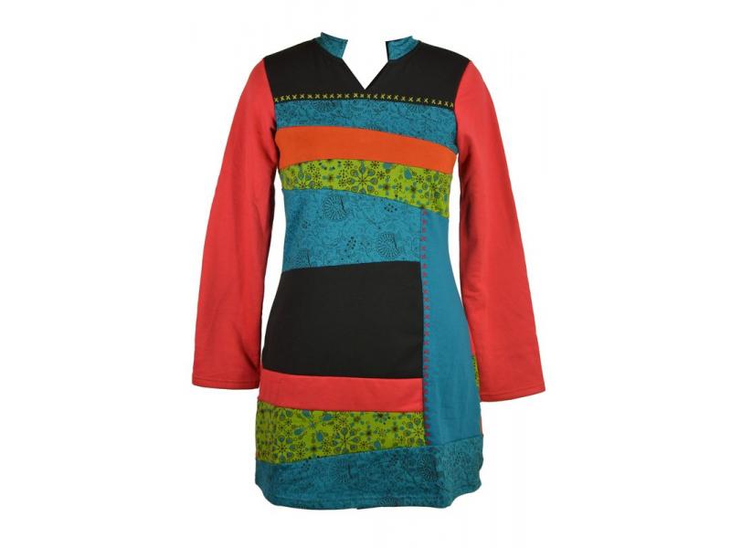Krátké zateplené šaty s dlouhým rukávem, červené, kombinace tisků a výšivky
