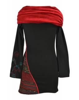 Krátké šaty s dlouhým rukávem, velký sametový límec, černo-červené, výšivka