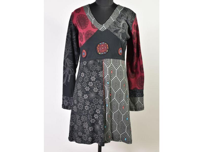Černo-vínovo-šedé šaty s dlouhým rukávem, mix potisků, mandala aplikace, výšivka