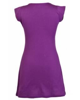 Šaty, krátké, krátký rukáv, fialové, butterfly tisk a výšivka