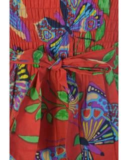"""Šaty, krátké, bez rukávu, ,,Butterfly design"""" červené, pásek pod prsy"""