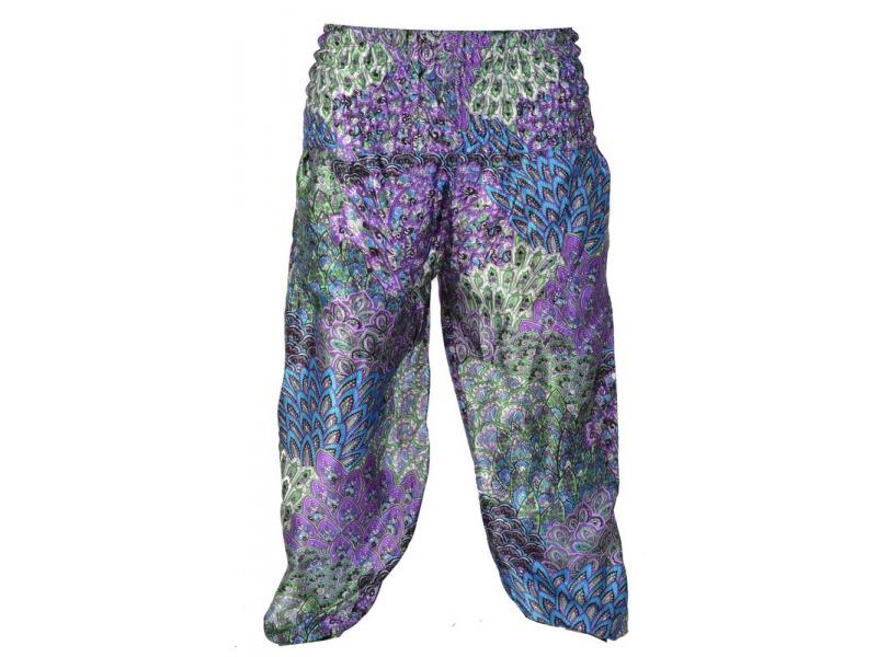 """Saténové balonové kalhoty """"Peacock design"""", fialové odstíny"""