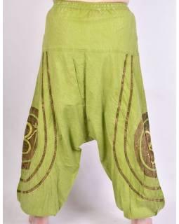 Unisex limetkově zelené turecké kalhoty Óm s kapsami, pružný pas