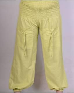 Zelenkavé balonové kalhoty s kapsami žabičkování v pase, měkčené provedení