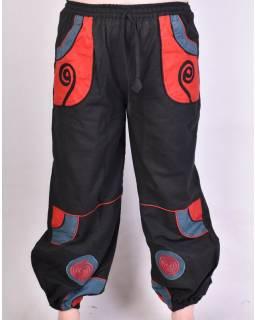 Černo-červené unisex kalhoty se spirálou, kapsy, elastický pas
