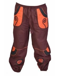 Hnědo-oranžové unisex kalhoty se spirálou, kapsy, elastický pas