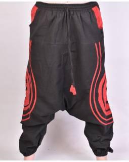 Černo-červené turecké kalhoty Óm, kapsy, elastický pas