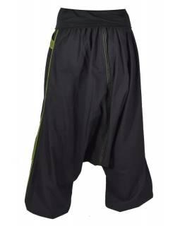 Pánské černo-khaki turecké kalhoty s pružným pasem, kapsy, výšivka spirály