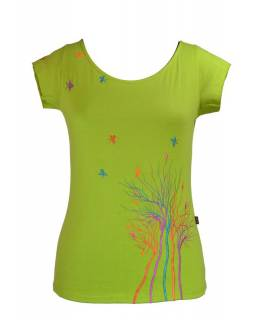 Dámské tričko s krátkým rukávem, zelené, multibarevná výšivka stromu a ptáčků